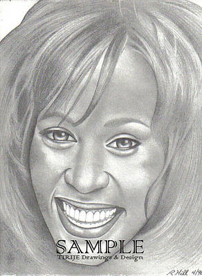 Album Covers Drawing - Whitney by Rick Hill