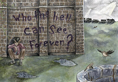 Spraypaint Painting - Who The Hell Can See Forever by Lanie McCarry