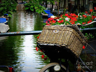 Wicker Bike Basket With Flowers Art Print