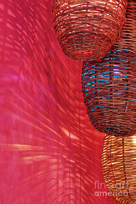 Wicker Light Shades And Pink Wall Art Print by Jeremy Woodhouse