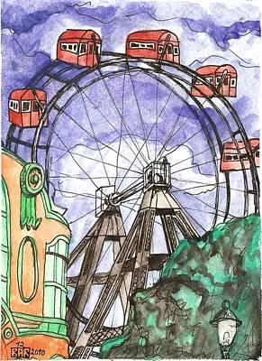 Ferris Wheel Drawing - Wiener Prater Ferris Wheel by Brian Reynolds