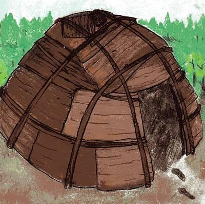 Mix Medium Drawing - Wigwam by Candi Wesaw
