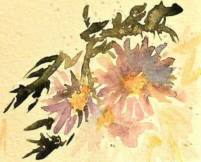 Wild Asters Painting - Wild Asters Aged Look by Beverley Harper Tinsley