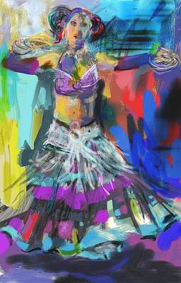 Wild Belly Dancer Art Print by Barbara Kelley