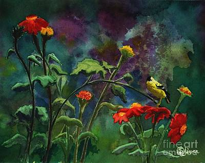Painting - Wild Canary With Flowers by Sherry Oliver