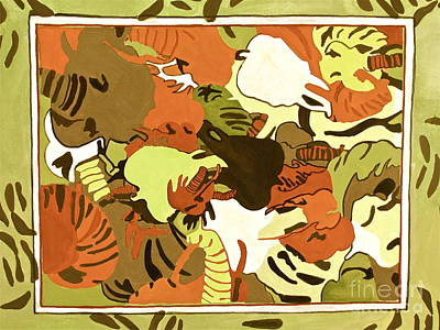 Art Print featuring the digital art Wild Elephants Brown by Beth Saffer