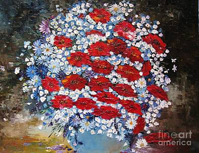 Art Print featuring the painting Wild Flowers by AmaS Art