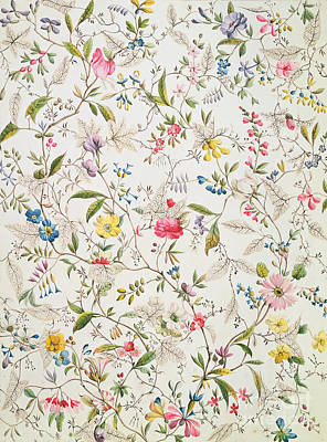Wallpaper Painting - Wild Flowers Design For Silk Material by William Kilburn