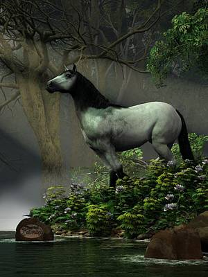 Digital Art - Wild Horse In The Forest by Daniel Eskridge