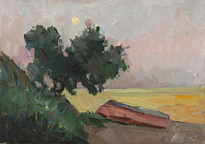 Painting - Wild Olive Moon And Sea Of Yellow Color by Juliya Zhukova