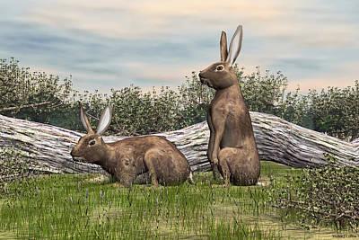 Digital Art - Wild Rabbits by Walter Colvin