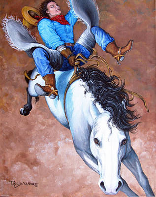 Bronc Painting - Wild Ride by Tanja Ware