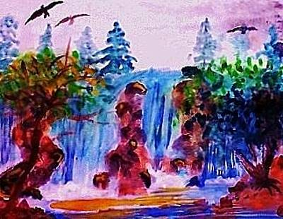 Painting - Wild Waterfalls by Anna Lewis