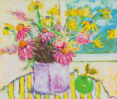 Pastel - Wildflowers With Outlines by Pat Olson