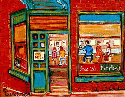 Painting - Wilenskys Sandwich Shop Corner Fairmount And Clark Le Plateau Montreal by Carole Spandau