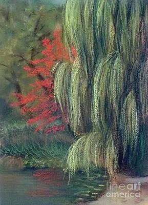 Art Print featuring the drawing Willow Tree - Hidden Lake Gardens -tipton Michigan by Yoshiko Mishina