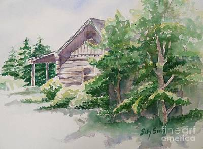 Art Print featuring the painting Will's Cabin by Sally Simon