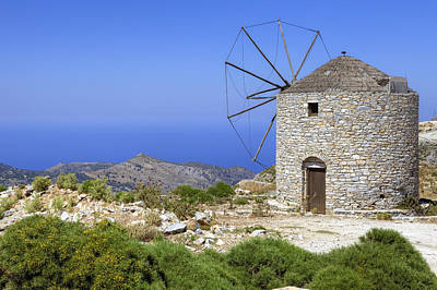 Cyclades Photograph - wind mill Naxos by Joana Kruse
