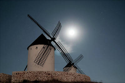 Wind Mills In Light Of Moon Art Print by Noviembre Anita Vela