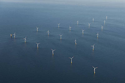 Changing Form Photograph - Wind Park In The Sea, Aerial View by Bernhard Lang