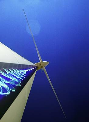 Digitally Manipulated Photograph - Wind Turbine Generating Electricity by Richard Kail