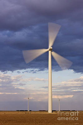 Wind Turbine Spinning At Dusk Art Print by Jeremy Woodhouse