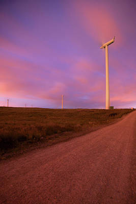 Wind Turbines At Night Art Print by photography by Spencer Bowman