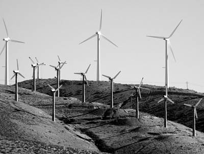 Photograph - Wind Turbines Black And White by Jeff Lowe