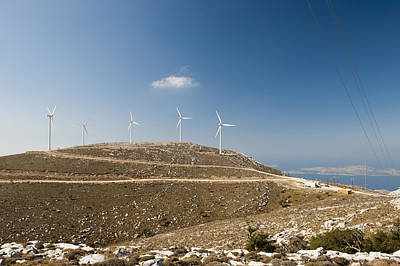 Wind Turbines On A Hill, Rhodes, Greece Art Print