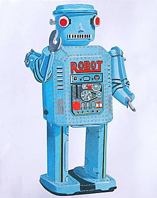 Science Fiction Drawings - Wind-up Robot by Glenda Zuckerman