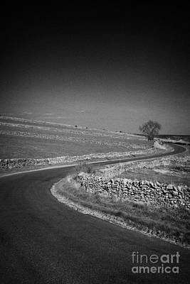 Tranquil Scene Escapism Photograph - Winding B Road Through The Derbyshire Dales Peak District National Park In Derbyshire England Uk by Joe Fox
