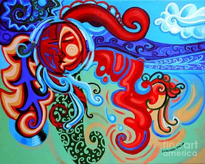 Green Movement Painting - Winding Sun by Genevieve Esson