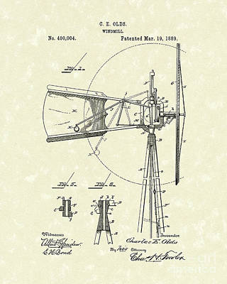 Mills Drawing - Windmill 1889 Patent Art by Prior Art Design