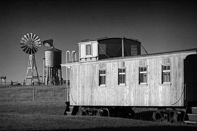 Windmill And Caboose From A Train In 1880's Town Art Print