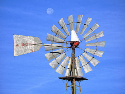 Windmill And Moon Art Print by Luc Novovitch