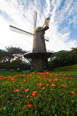 Windmill And Poppies Art Print