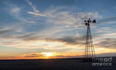 Windmill And Sunset Art Print by Art Whitton