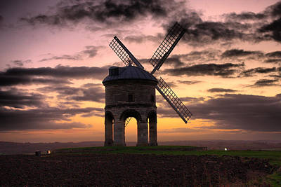 Windmill At Dusk Print by Christopher Gandy