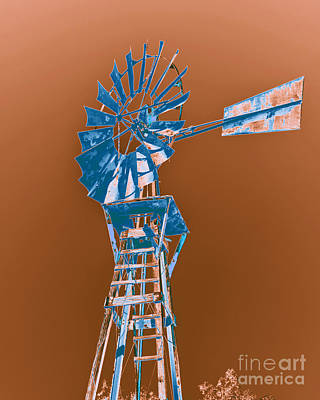 Windmill Blue Print by Rebecca Margraf