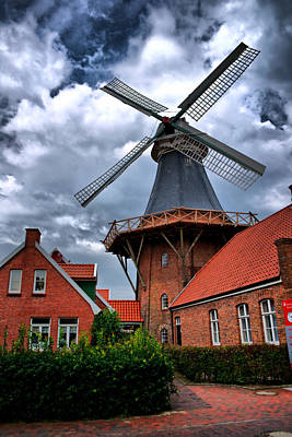 Windmill In Northern Germany Art Print by Edward Myers