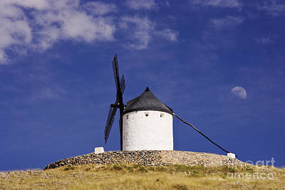 Windmill On Hilltop With Gibbous Moon Art Print by Jeremy Woodhouse