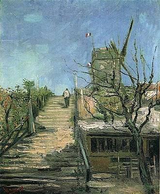 Pointillist Digital Art - Windmill On Montmartre by Vincent Van Gogh