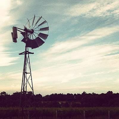 Vineyard Photograph - #windmill #scenery #winery #vineyard by Glen Offereins