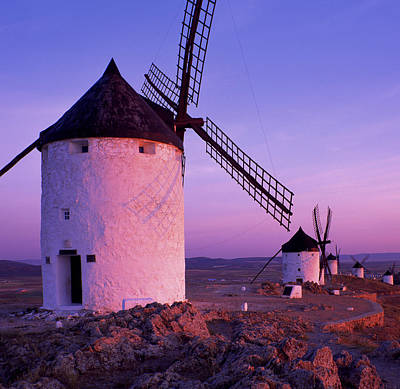 Windmills At Dawn, Castile-la Mancha Art Print by Brian Lawrence