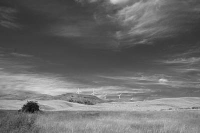 Print featuring the photograph Windmills In The Distant Hills by Kathleen Grace