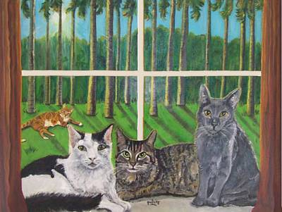 Palm Painting - Window Cats by Paintings by Gretzky
