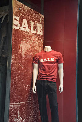 Photograph - Window Display Sale With Mannequins No.0129 by Randall Nyhof