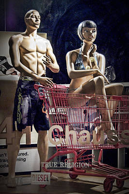 Photograph - Window Display With Mannequins And Shopping Cart by Randall Nyhof