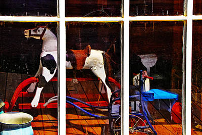 Photograph - Window Display With Vintage Rocking Horse by Randall Nyhof