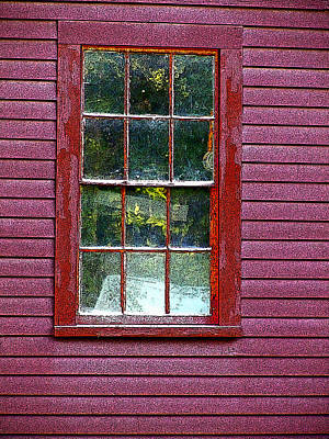 Photograph - Window Of Red Barn by Nancy Griswold
